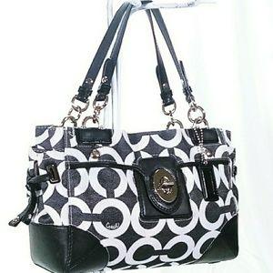 ❤Coach Satchel Black & White Handbag